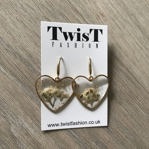 Gold Heart Resin Earrings